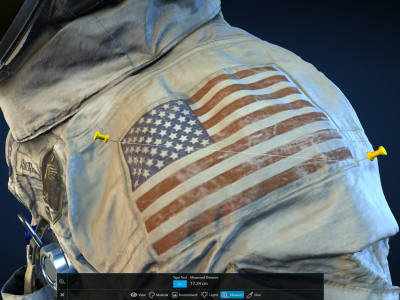 Measuring the on-screen American flag on the space suit