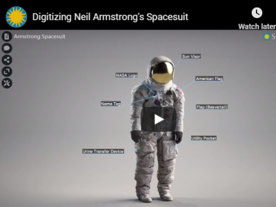 Webpage with a 3D space suit