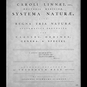 The cover page of Systema Naturae, published in 1735 by Carl Linnaeus